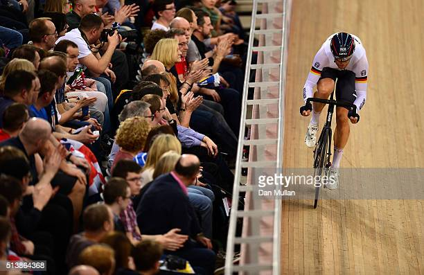 Roger Kluge of Germany competes in the Men's Omnium Flying Lap during Day Four of the UCI Track Cycling World Championships at Lee Valley Velopark...