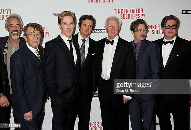 Roger LloydPack John Hurt Benedict Cumberbatch Colin Firth John Le Carre Gary Oldman and Tomas Alfredson pose at the UK Premiere of 'Tinker Tailor...