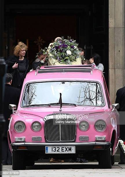 Roger LloydPack's coffin is placed back into the pink hearse at the end of the funeral of actor Roger LloydPack at St Paul's Church on February 13...