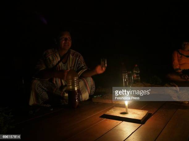 SAN FRANCISCO PUCALLPA UCAYALI PERU Roger Lopez Shaman of a Shipibo community in the Amazon jungle conduct a session of Ayahuasca The ceremonial...