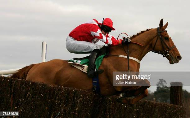 Roger Loughran and Schindlers Hunt clear the last fence to land The Baileys Arkle Perpetual Challenge Cup Novices Steeple Chase Race run at...