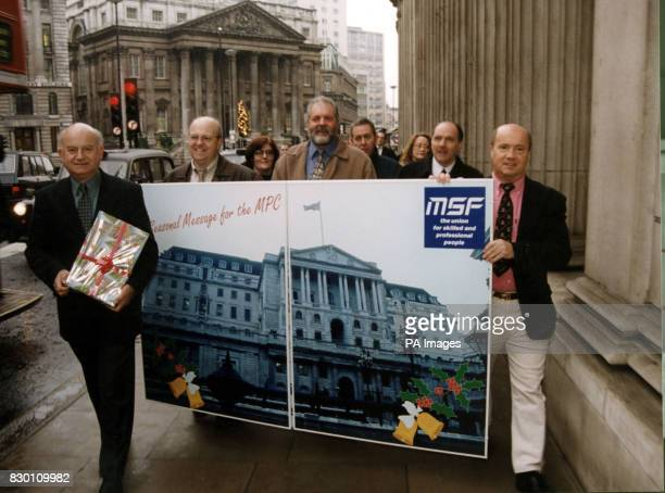Roger Lyons MSF general secretary and MSF members from manufacturing companies all over Britain deliver a giant Christmas card and a petition signed...