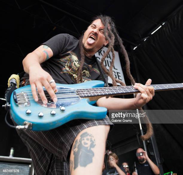 Roger Manganelli of Less than Jake performs during Vans Warped Tour '14 at First Midwest Bank Amphitheatre on July 19 2014 in Tinley Park Illinois