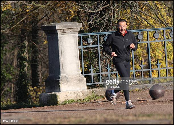 Roger Marion former boss of the NATD in a wood of Saint Germain En Laye France On November 27 2007 Roger Marion keep his form by jogging in the wood...