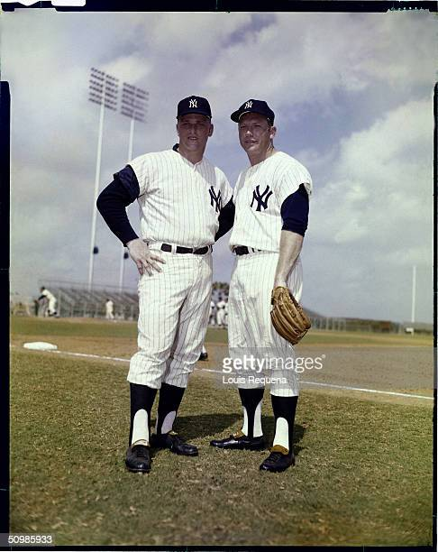 Roger Maris and Mickey Mantle of the New York Yankees poses for a portrait circa 1960