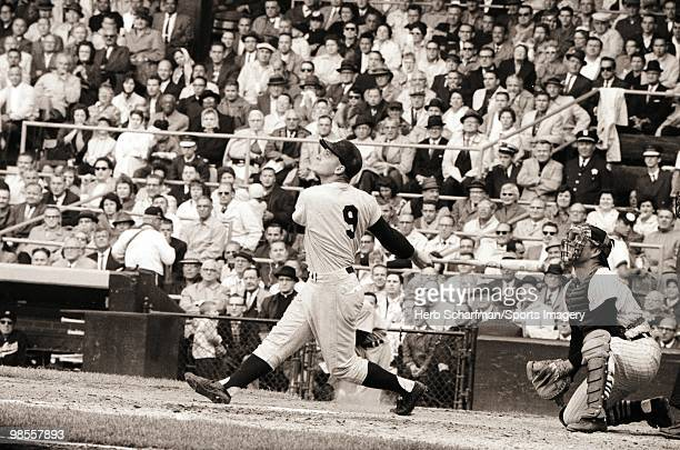 Roger Maris of the New York Yankees bats during a MLB game against the Chicago White Sox on September 13 1961 in Chicago Illinois Photo by Herb...