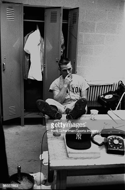 Roger Maris of the New York Yankees relaxes in the clubhouse after a MLB game against the Baltimore Orioles on September 20 1961 in Baltimore...