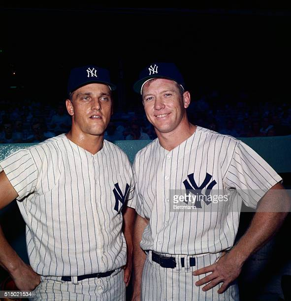 Roger Maris poses with Mickey Mantle in their NY Yankee's uniforms