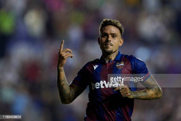 Roger Marti of Levante celebrates after scoring his sides second goal during the Liga match between Levante UD and Villarreal CF at Ciutat de...
