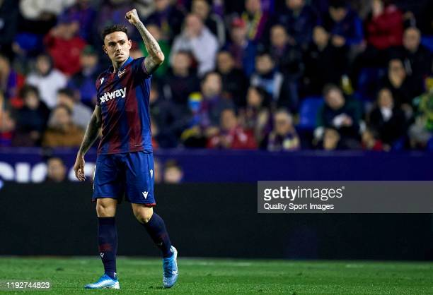 Roger Marti of Levante celebrates after scoring his team's first goal during the Liga match between Levante UD and Valencia CF at Ciutat de Valencia...