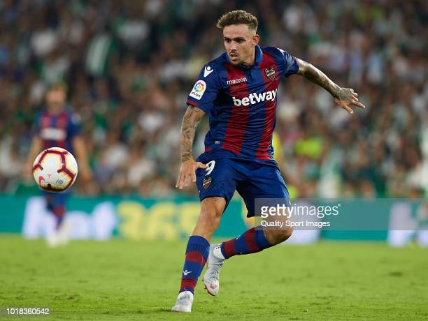 Roger Marti of Levante in action during the La Liga match between Real Betis Balompie and Levante UD at Estadio Benito Villamarin on August 17 2018...