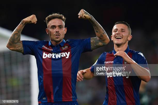 Roger Marti of Levante UD celebrates after scoring his team's first goal during the La Liga match between Real Betis Balompie and Levante UD at...