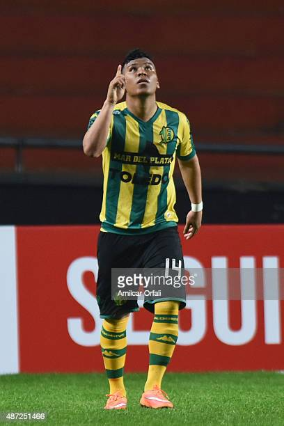 Roger Martinez of Aldosivi celebrates after scoring the first goal of his team during a match between Estudiantes and Aldosivi as part of 23rd round...