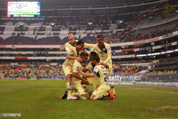 Roger Martinez of America celebrates after scoring the first goal of his team during the fourth round match between Club America and Monterrey as...