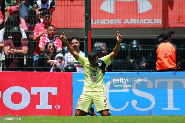 Roger Martinez of America celebrates after scoring the first goal of his team during the 15th round match between Toluca and America as part of the...