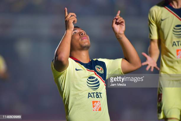 Roger Martinez of America celebrates after scoring the first goal of his team during the 17th round match between Veracruz and America as part of the...