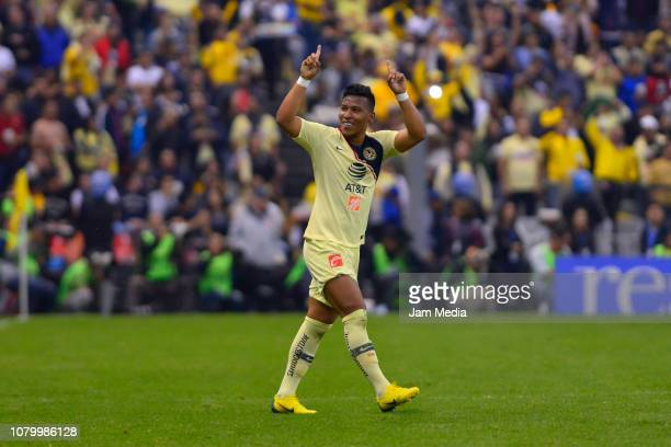 Roger Martinez of America celebrates after scoring the third goal of his team during the semifinal second leg match between America and Pumas UNAM as...