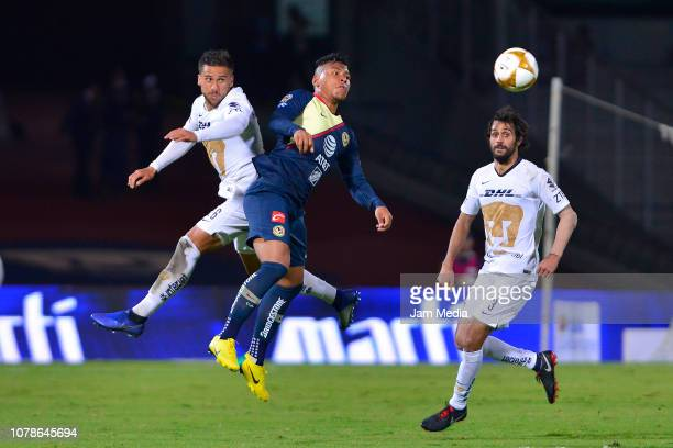 Roger Martinez of America goes for a header during the semifinal first leg match between Pumas UNAM and America as part of the Torneo Apertura 2018...