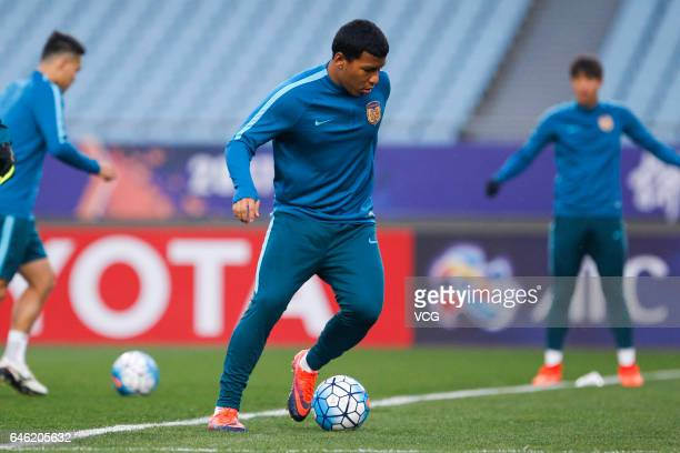 Roger Martinez of Jiangsu Suning attends a training session ahead of the AFC Champions League 2017 Group H match between Jiangsu Suning and Adelaide...