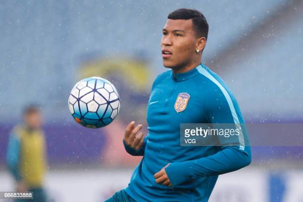 Roger Martinez of Jiangsu Suning attends a training session ahead of the AFC Champions League Group E match between Jiangsu Suning and Gamba Osaka at...