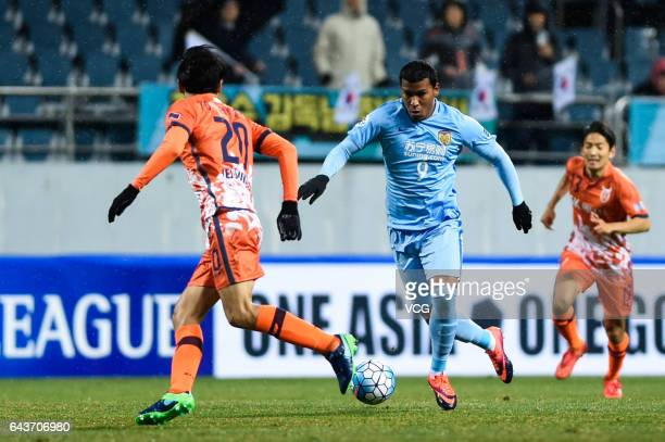 Roger Martinez of Jiangsu Suning dribbles during 2017 AFC Asian Champions League group match between Jeju United FC and Jiangsu Suning FC at Jeju...
