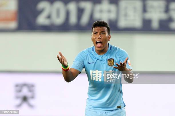 Roger Martinez of Jiangsu Suning reacts during the 10th round match of 2017 Chinese Football Association Super League between Guangzhou Evergrande...