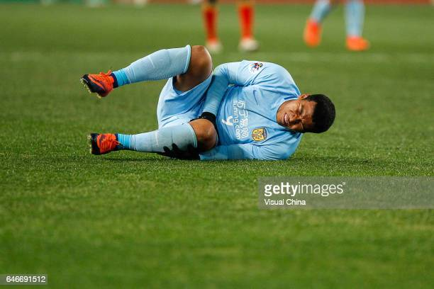 Roger Martinez of Jiangsu Suning reacts during the AFC Champions League 2017 Group H match between Jiangsu Suning and Adelaide United at Nanjing...