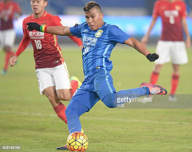 Roger Martinez of Jiangsu Suning shoots during the final second leg of Yanjing Beer 2016 Chinese Football Association Cup between Guangzhou...