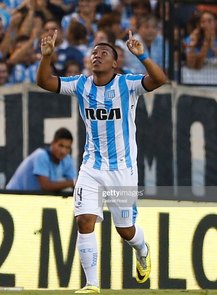 Roger Martinez of Racing Club celebrates after scoring the first goal of his team during a fifth round match between Racing Club and Boca Juniors as part of Torneo Transicion 2016 at Presidente Peron Stadium on February 28, 2016 in Avellaneda, Argentina.