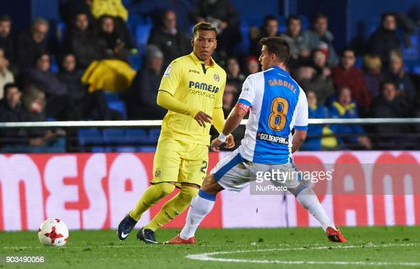 Roger Martinez of Villarreal CF and Gabriel Pires of Club Deportivo Leganes during the Spanish Copa del Rey Round of 16 match between Villarreal CF...