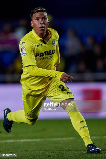 Roger Martinez of Villarreal CF runs during the Copa del Rey Round of 16 second leg game between Villarreal CF and CD Leganes on January 10 2018 in...