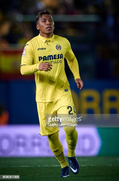 Roger Martinez of Villarreal looks on during the La Liga match between Villarreal and Levante at Estadio de la Ceramica on January 20 2018 in...