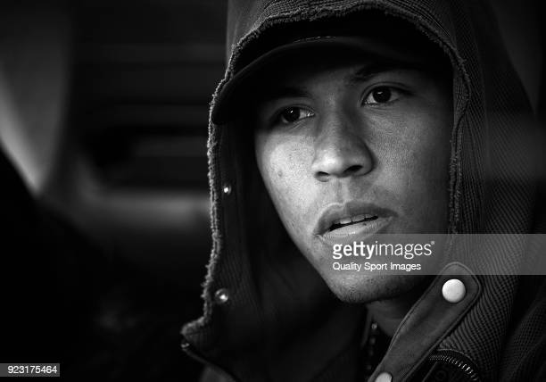 Roger Martinez of Villarreal looks on prior the UEFA Europa League Round of 32 match between Villarreal and Olympique Lyon at the Estadio de la...
