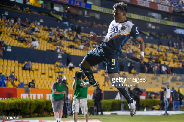 Roger Martínez of América celebrates after scoring his team's first goal during the 14th round match between Tigres UANL and America as part of the...