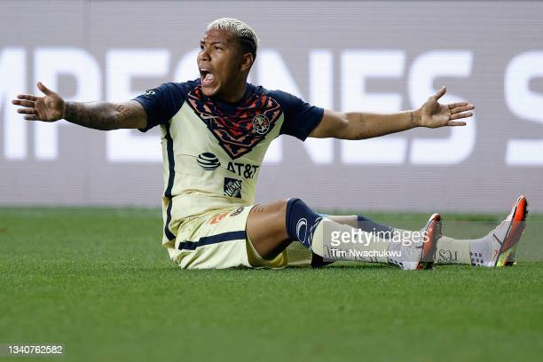 Roger Martínez of Club America reacts to a call during the semifinal second leg match of the CONCACAF Champions League 2021 against Philadelphia...