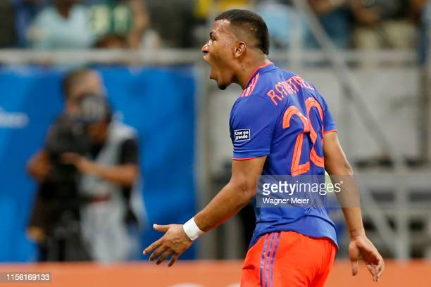 Roger Martínez of Colombia celebrates after scoring the first goal of his team during the Copa America Brazil 2019 group B match between Argentina...
