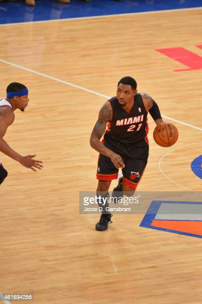 Roger Mason Jr #21 of the Miami Heat dribbles the ball against the New York Knicks on January 09 2014 at Madison Square Garden in New York City NOTE...