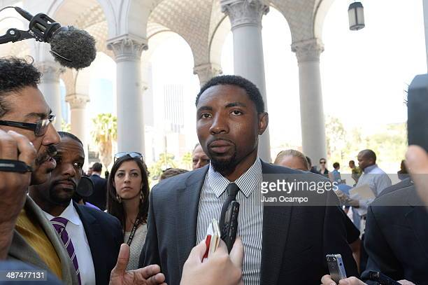 Roger Mason Jr Vice President of the National Basketball Players Association speaks to the media at City Hall on April 29 2014 in Los Angeles...
