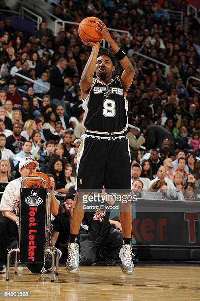Roger Mason of the San Antonio Spurs participates in the Foot Locker ThreePoint Shootout on AllStar Saturday Night part of 2009 NBA AllStar Weekend...
