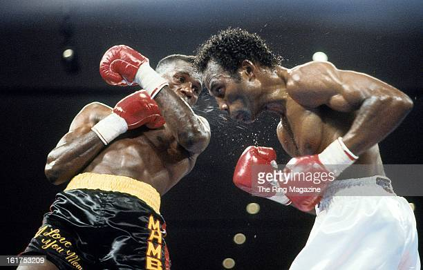 Roger Mayweather lands a left hook to Harold Brazier during the fight at Hilton Hotel in Las Vegas NevadaRoger Mayweather won the WBC light...