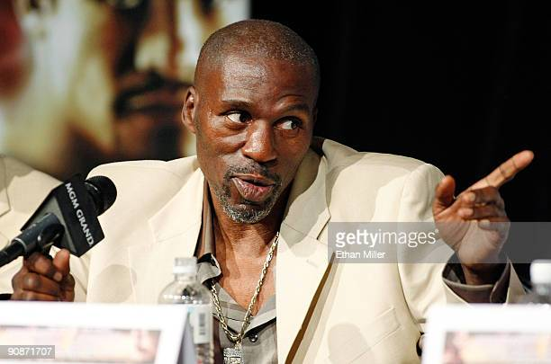 Roger Mayweather uncle and trainer of boxer Floyd Mayweather Jr speaks during the final news conference for their bout against Juan Manuel Marquez at...