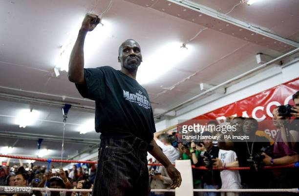 Roger Mayweather uncle and trainer of Floyd Mayweather Jnr during the media work out at the Peacock Gym London