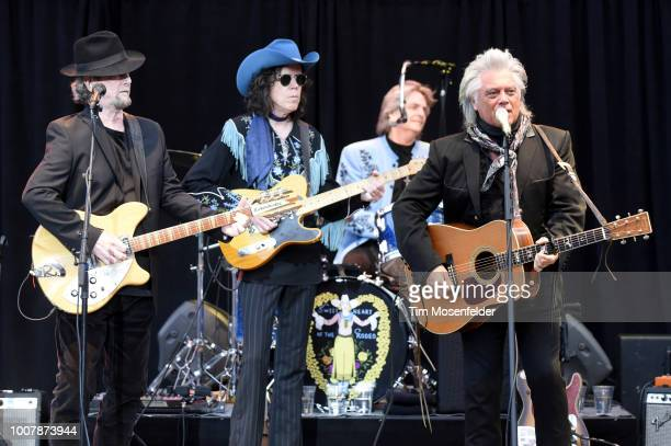 Roger McGuinn and Marty Stuart perform during the Sweetheart of the Rodeo Reunion at The Mountain Winery on July 29, 2018 in Saratoga, California.