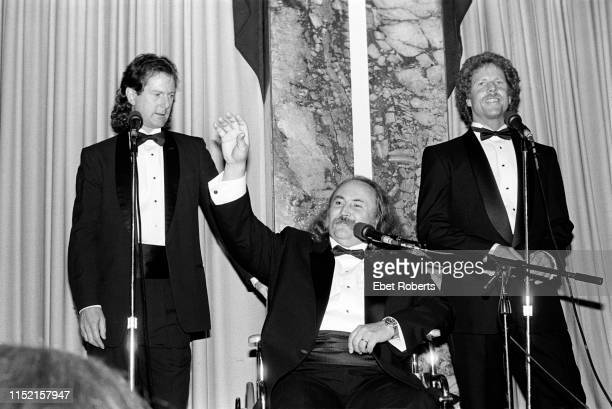 Roger McGuinn David Crosby and Chris Hillman of The Byrds at the 1991 Rock Roll Hall of Fame induction ceremony at the Waldorf Astoria in New York...