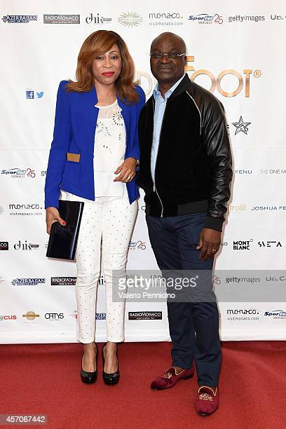 Roger Milla and wife attend the Golden Foot Footprints Ceremony on October 11 2014 in MonteCarlo Monaco