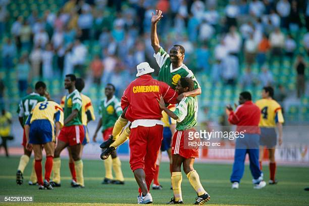 Roger Milla celebrates victory at the end of a first round match of the 1990 FIFA World Cup against Romania Cameroon won 21