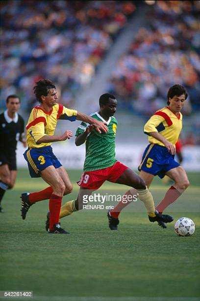 Roger Milla in action during a first round match of the 1990 FIFA World Cup against Romania Cameroon won 21