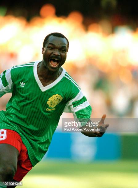 Roger Milla of Cameroon celebrates after scoring during the 1990 FIFA World Cup 2nd Round match between Cameroon and Colombia at the Stadio San Paolo...