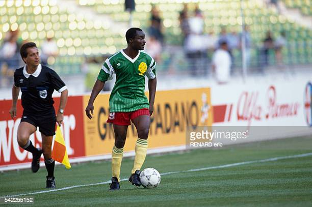 Roger Milla of Cameroon in action during a first round match of the 1990 FIFA World Cup against Romania Cameroon won 21