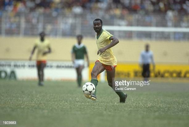 Roger Milla of Cameroon in action during a match against Nigeria Cameroon won the match 30 Mandatory Credit David Cannon/Allsport